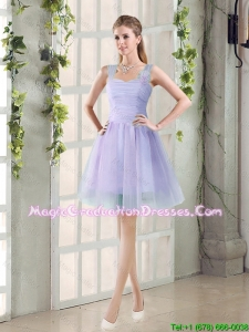 Custom Made A Line Straps Short Graduation Dresses with Ruching