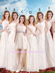Elegant Empire Champagne Graduation Dresses with Hand Made Flowers