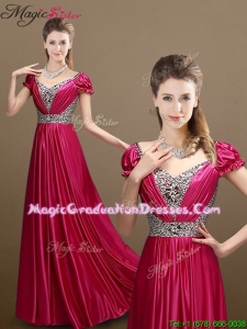 Pretty Empire V Neck Beading Graduation Dresses with Short Sleeves