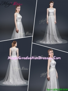 Winter Elegant Empire Bateau Graduation Dresses with Brush Train
