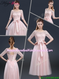 2016 Elegant Tea Length Graduation Dresses with Lace and Bowknot