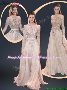 2016 Fall Cheap Brush Train Champagne Graduation Dresses with Beading