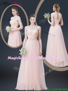 2016 Lovely Empire Bateau Graduation Dresses with Appliques and Bowknot