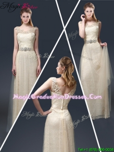 Empire Lace Graduation Dresses with Appliques in Champagne