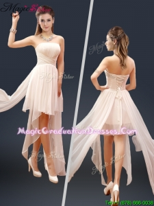 Fall Cheap Champagne Asymmetrical Graduation Dresses with Ruching