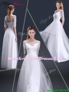 Popular Off the Shoulder Half Sleeves Graduation Dresses with Beading
