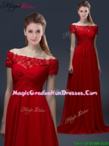 Simple Off the Shoulder Short Sleeves Red Graduation Dresses with Appliques