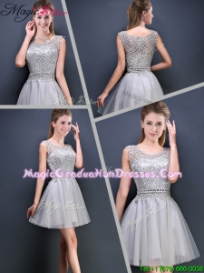 Summer Perfect Mini Length Scoop Graduation Dresses with Appliques