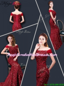 Winter Mermaid Off the Shoulder Sequins Graduation Dresses in Wine Red