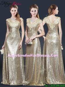 Winter Perfect V Neck Sequins Graduation Dresses in Champagne