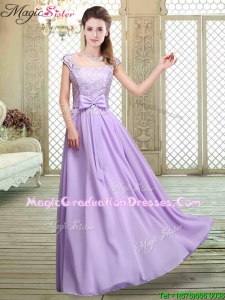2016 Fashionable Square Cap Sleeves Lavender Graduation Dresses with Belt
