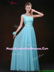 2016 Inexpensive Empire One Shoulder Fashionable Graduation Dresses with Appliques