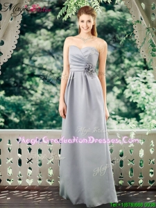 2016 Romantic Empire Sweetheart Graduation Dresses with Hand Made Flowers