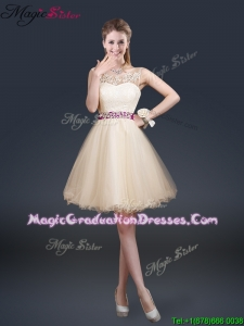 Beautiful Scoop Best Graduation Dresses with Appliques and Belt