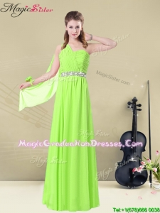 Latest Floor Length One Shoulder Ruching Fabulous Graduation Dresses for Summer