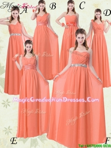Simple Empire Floor Length Fabulous Graduation Dresses with Ruching and Belt