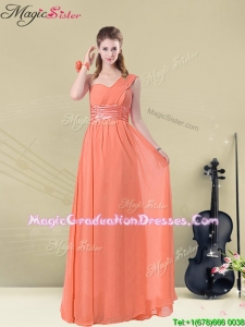 Affordable One Shoulder Floor Length Romantic Graduation Dresses with Ruching and Belt