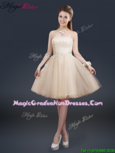 Fashionable Strapless Lace Champagne Romantic Graduation Dresses