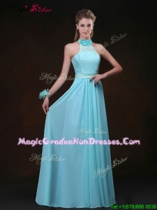 Hot Sale Empire Halter Top Gorgeous Graduation Dresses with Lace
