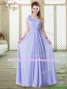 Lovely Empire One Shoulder Gorgeous Graduation Dresses in Lavender