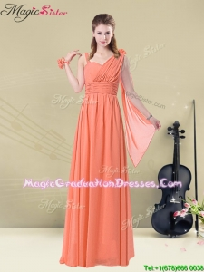 Low price Empire Straps Gorgeous Graduation Dresses with Ruching and Belt