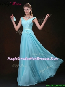 Low price Empire V Neck Romantic Graduation Dresses with Belt and Lace