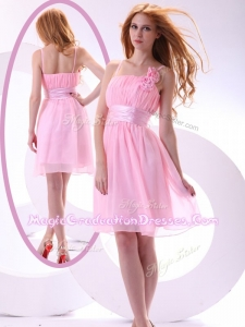 Beautiful Short Pink Graduation Dresses with Hand Made Flowers and Belt