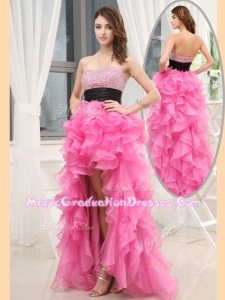 Cheap Sweetheart High-low Pink Graduation Dresses with Beading and Belt