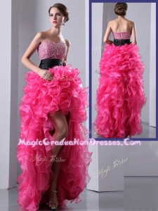 Exquisite High Low Hot Pink Graduation Dress with Ruffles