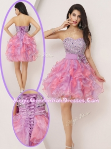 Lovely Short Sweetheart Beading and Bowknot Graduation Gowns