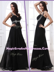 Low Price Straps Empire Beading Graduation Dresses in Black