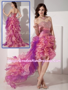 Luxurious High Low Beading Graduation Dresses in Multi Color