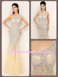 Luxurious Mermaid One Shoulder Champagne Beading Graduation Dresses