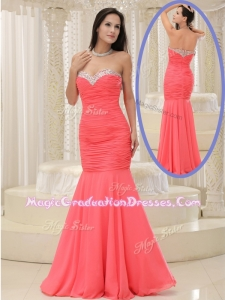 New Style Mermaid Sweetheart Coral Red Graduation Dress