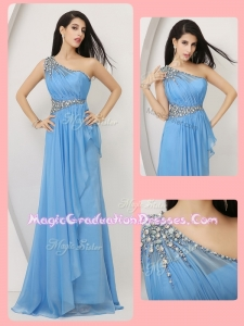 Cheap Empire One Shoulder Graduation Dresses with Beading and Ruching