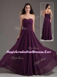 Cheap Empire Sweetheart Ruching Graduation Dress in Purple