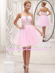 Exquisite Strapless Beading Short Graduation Dress for Homecoming