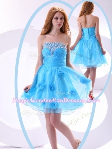 Lovely Short Graduation Dress with Beading and Hand Made Flowers
