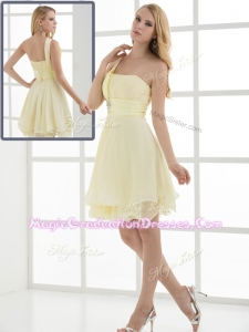 Pretty Short One Shoulder Beading and Belt Graduation Dresses for Summer