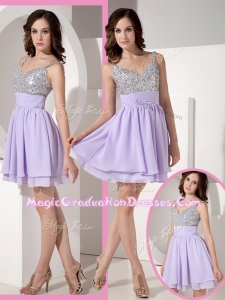 Pretty Sweetheart Beading Lavender Short Graduation Dress