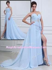 The Super Hot Brush Train Sweetheart Beading Graduation Dresses in Light Blue