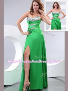 Affordable Sweetheart Paillette and High Slit Green Graduation Dress