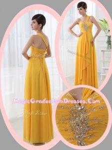 Beautiful Empire One Shoulder Beading Orange Graduation Dresses for Holiday