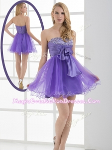 Beautiful Sweetheart Eggplant Purple Short Graduation Dresses with Beading