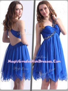Best One Shoulder Blue Short Graduation Dresses with Beading