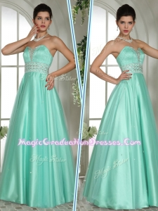 Elegant A Line Sweetheart Beading Graduation Dresses in Apple Green
