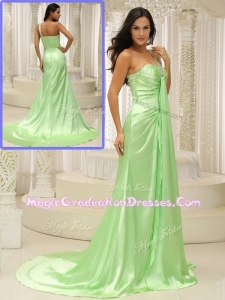 Elegant Column One Shoulder Beading Graduation Dresses with Brush Train