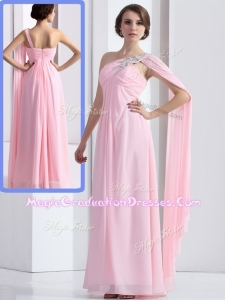 Elegant One Shoulder Baby Pink Graduation Dress with Ruching and Beading
