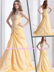 Exclusive Brush Train Strapless Column Graduation Dresses with Beading