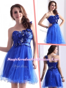 Exquisite One Shoulder Graduation Dresses with Beading and Hand Made Flowers